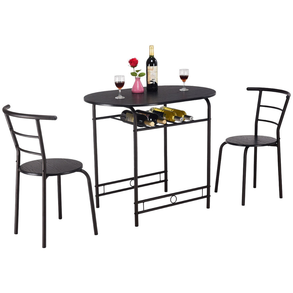 3 pcs Dining Set Table and 2 Chairs Bistro Pub Furniture-Black