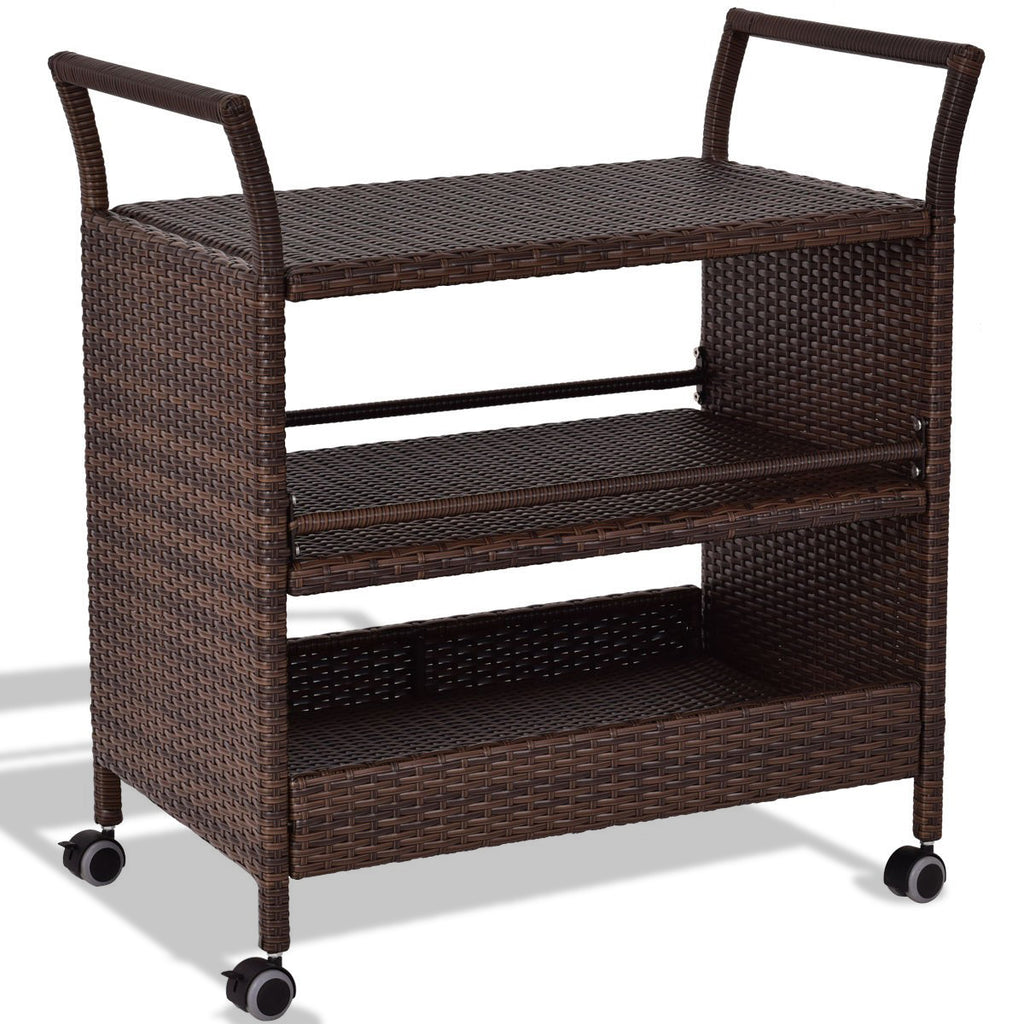 Rattan Rolling Serving Cart Storage Shelves Rack