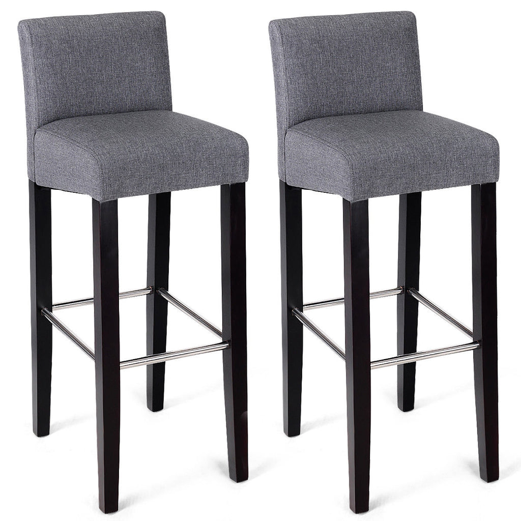 2 pcs Fabric Bar Stool Pub Chair with Solid Wooden Legs-Gray