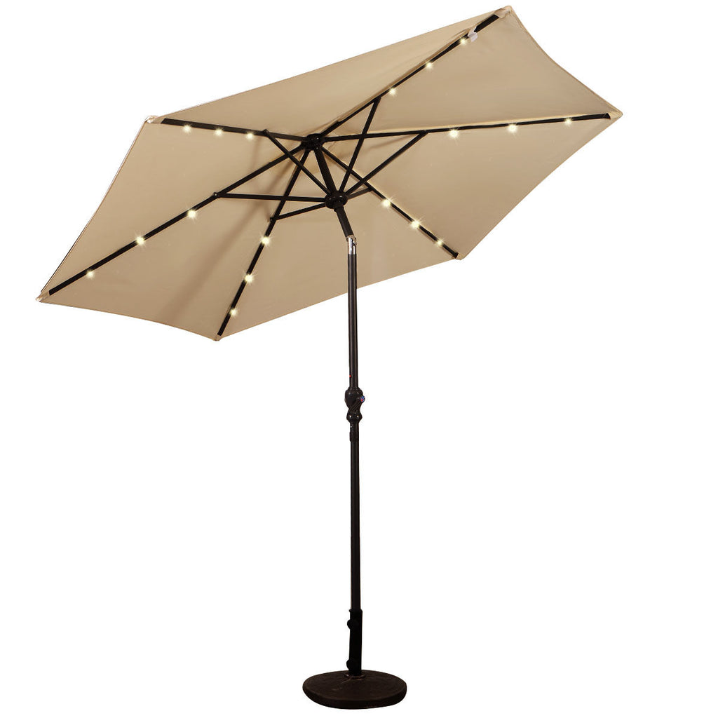 9FT Patio Solar Umbrella LED Patio Market Steel Tilt W/ Crank Outdoor New-beige