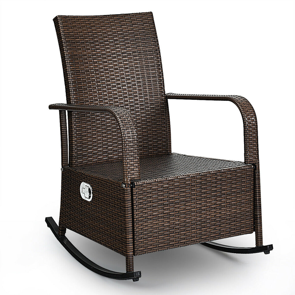 Patio Wicker Porch Garden Lawn Reclining Rocking Chair