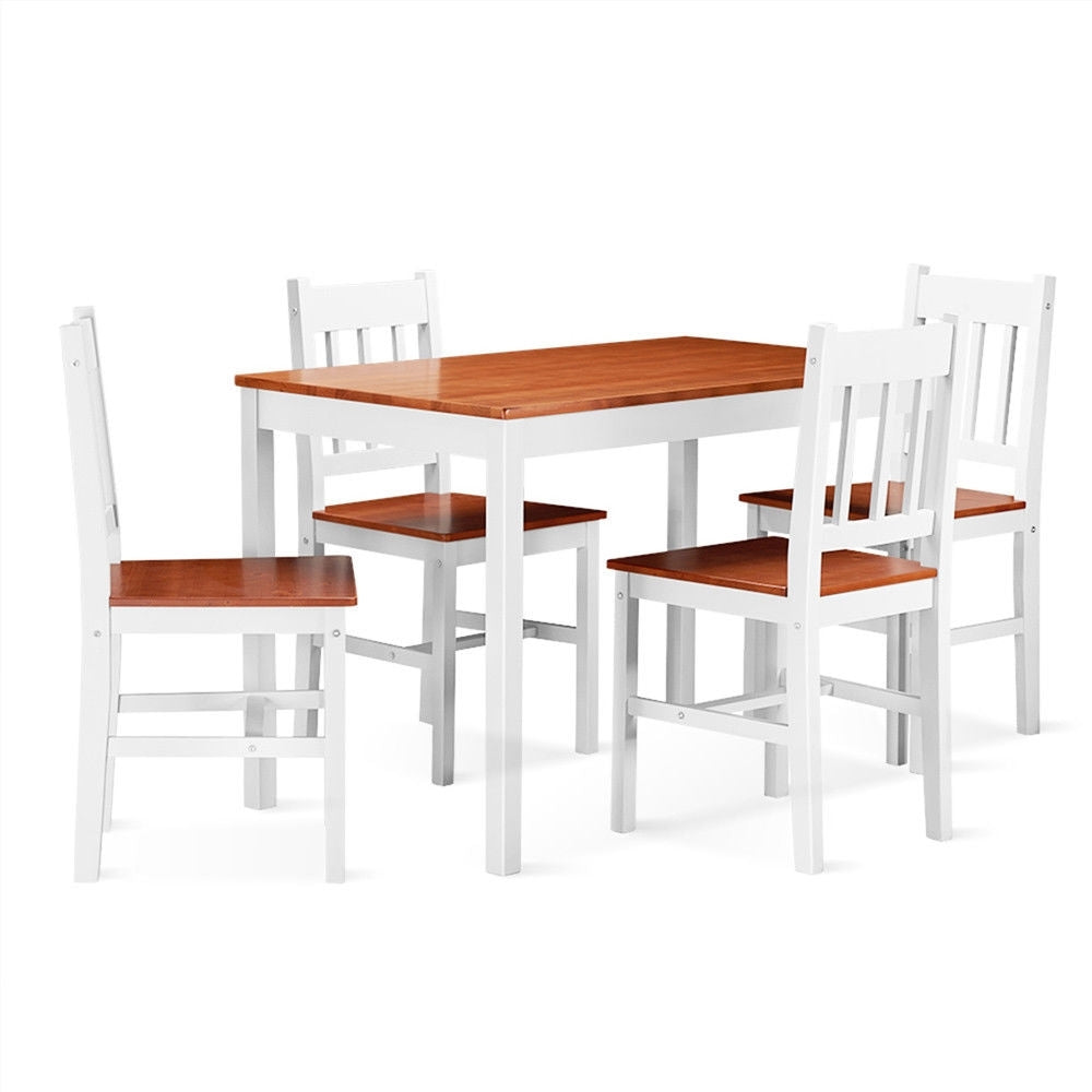 5 pcs Wood Dining 4 Chairs & Table Set-Wood