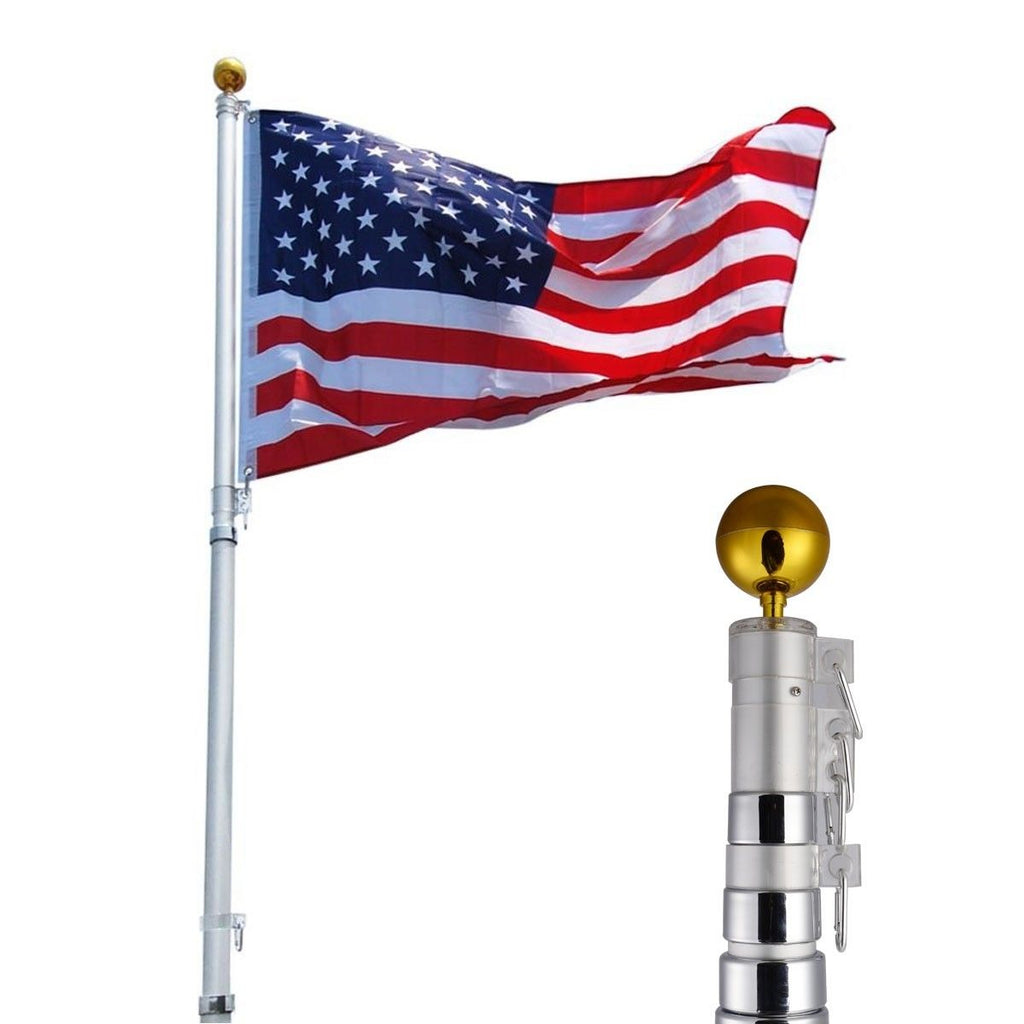 25 ft Sectional Telescoping Flagpole Kit with an American Flag