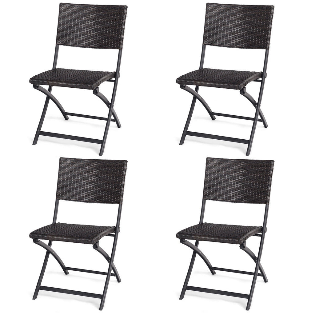4 pcs Patio Folding Back Rattan Camping Garden Chair