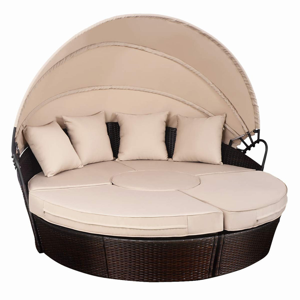 Outdoor Patio Rattan Retractable Canopy Daybed