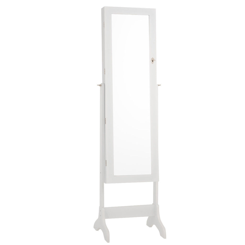 Lockable Mirrored Jewelry Cabinet Armoire Storage Organizer Box-White