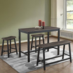 4 pcs Solid Wood Counter Height Dining Table Set-Gray
