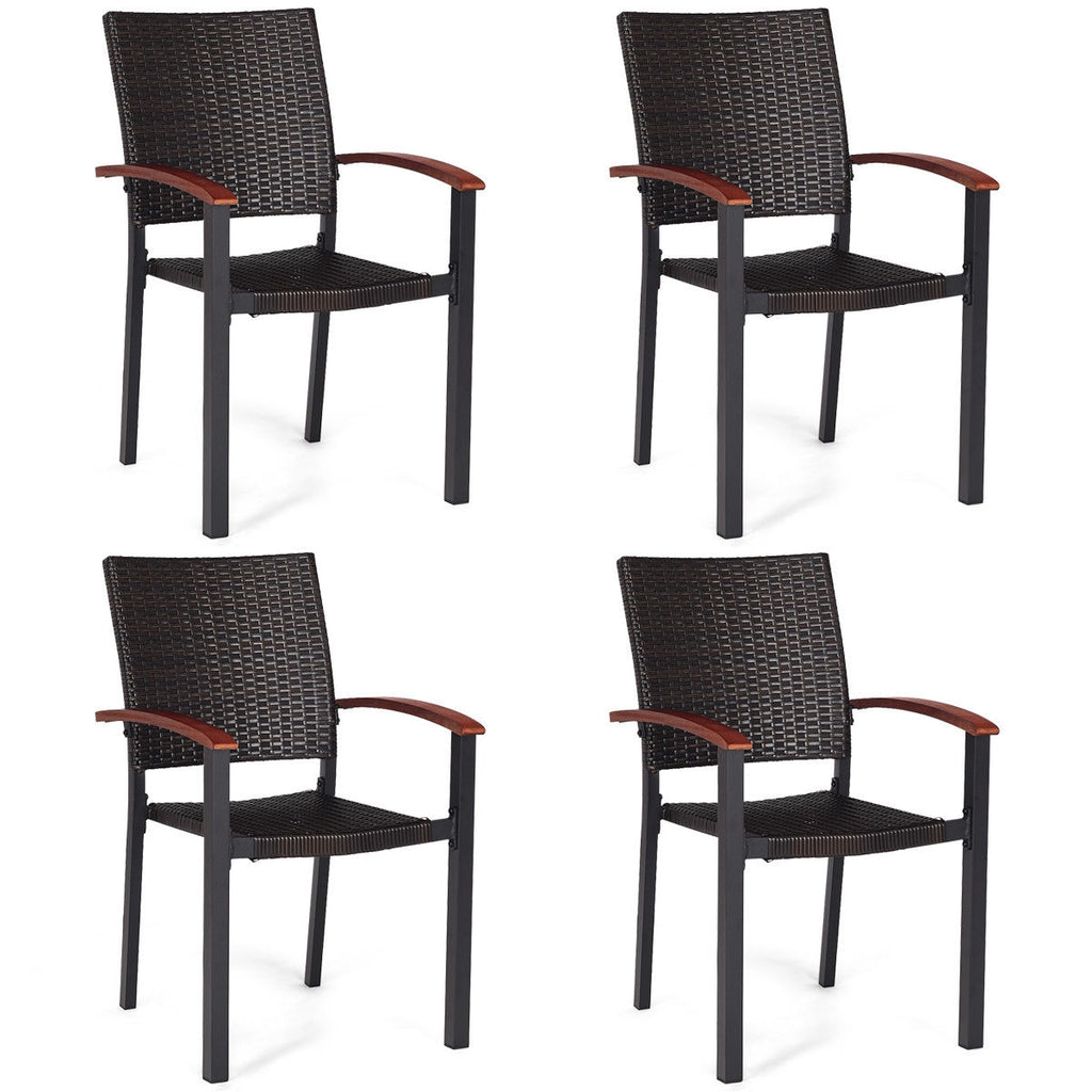 4 pcs Patio Rattan Dining Chairs Armchair Stackable Wicker