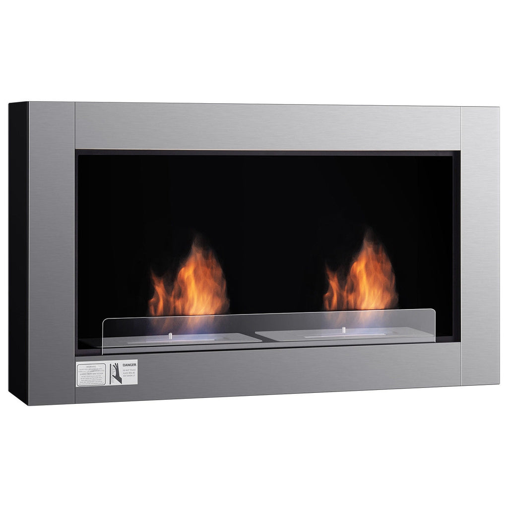 "38"" Wall Mounted Bio-Ethanol Ventless Dual Burner Fireplace"