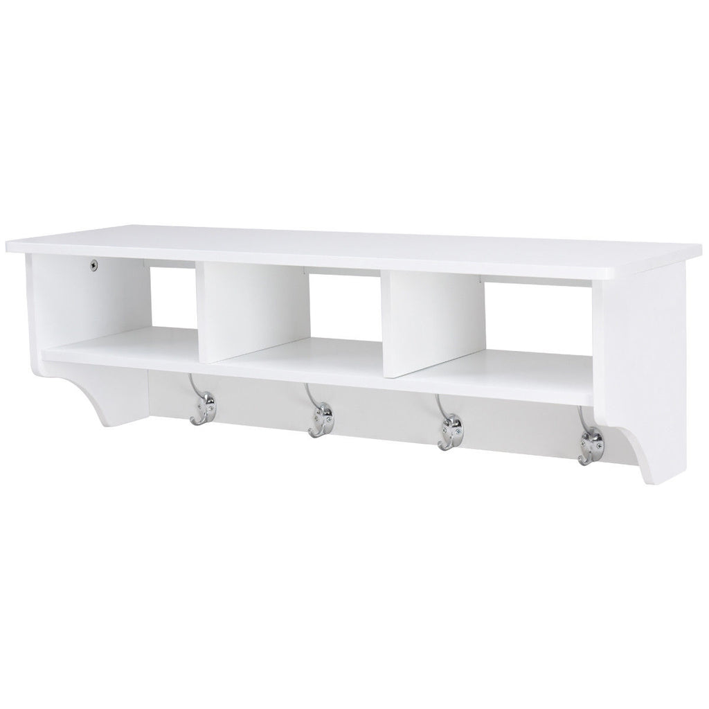 Wall Mount Cubby Organizer Hooks Entryway Storage Shelf-White