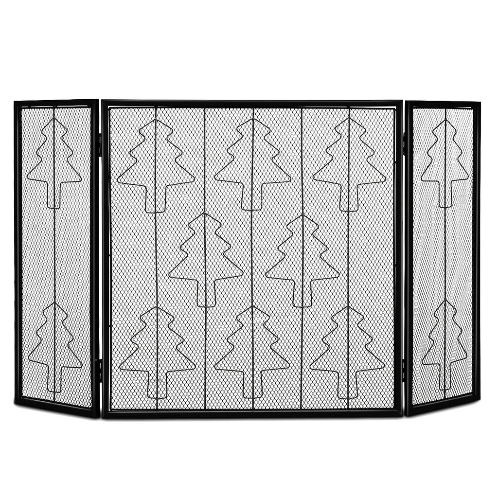 3 Panel Folding Steel Fireplace Screen
