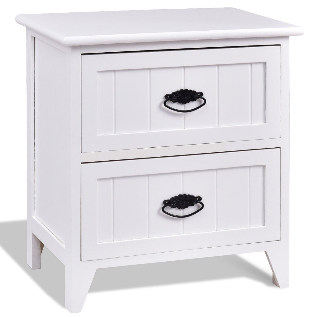 2 Drawers Storage Wood End Side Nightstand-White