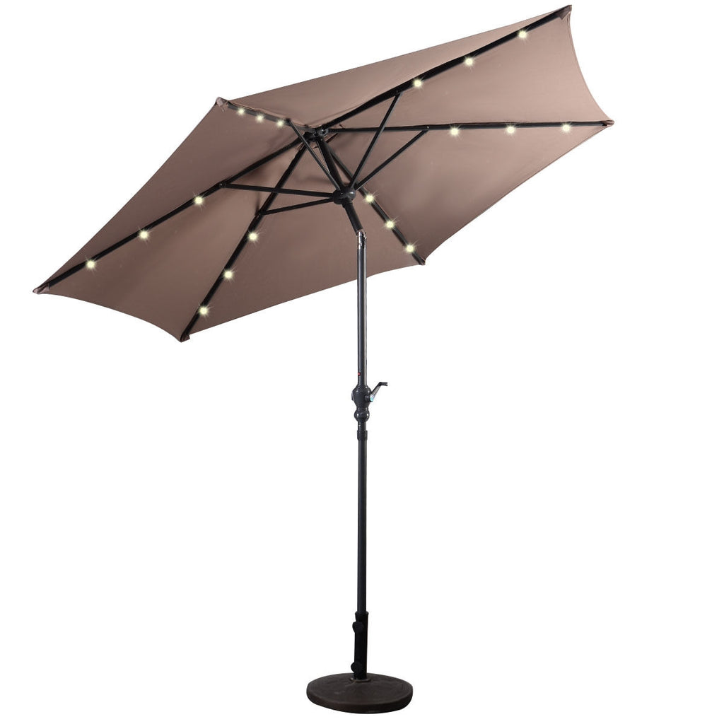9FT Patio Solar Umbrella LED Patio Market Steel Tilt W/ Crank Outdoor New-Tan