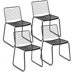 Armless Stackable Set of 4 Metal Dining Chairs