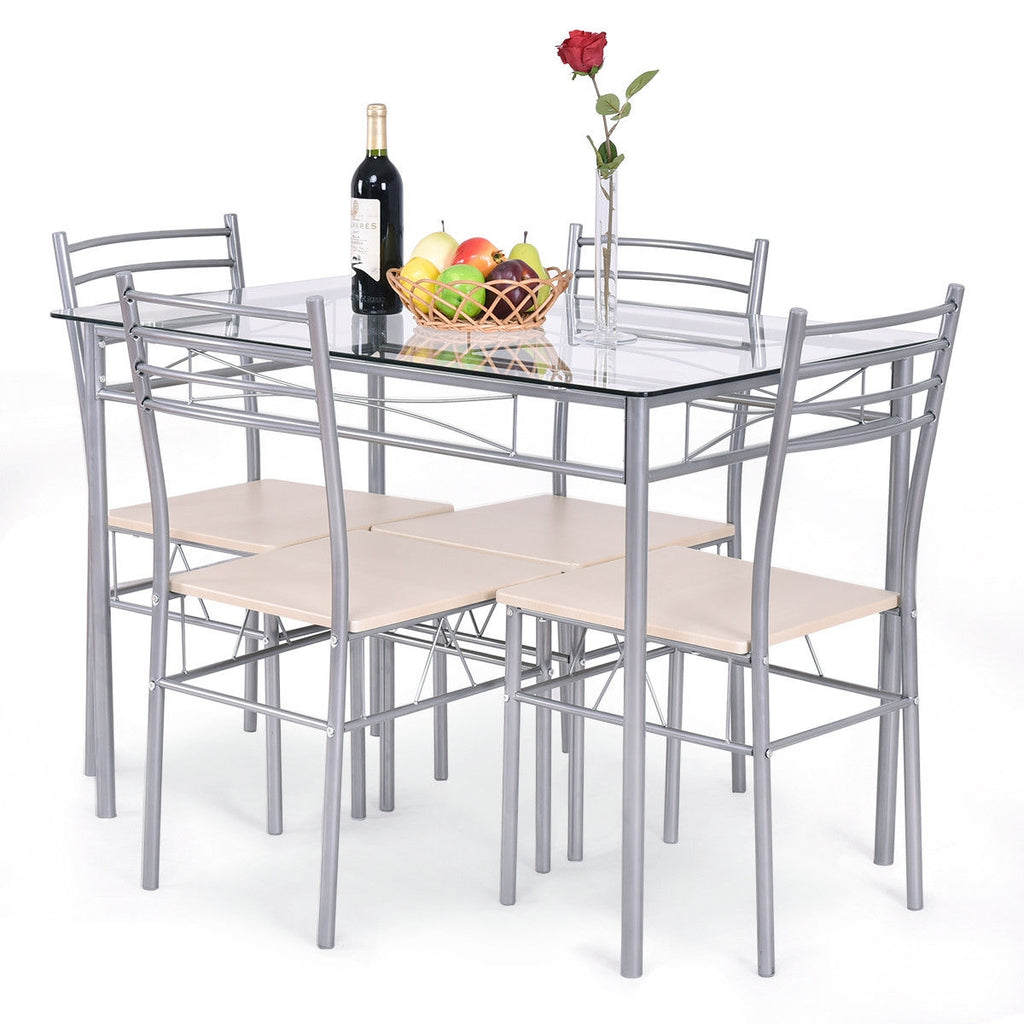5 pcs Dining Set Glass Table and 4 Chairs
