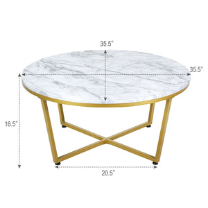 Round Adjustable Coffee Table with Gold Print Metal Frame