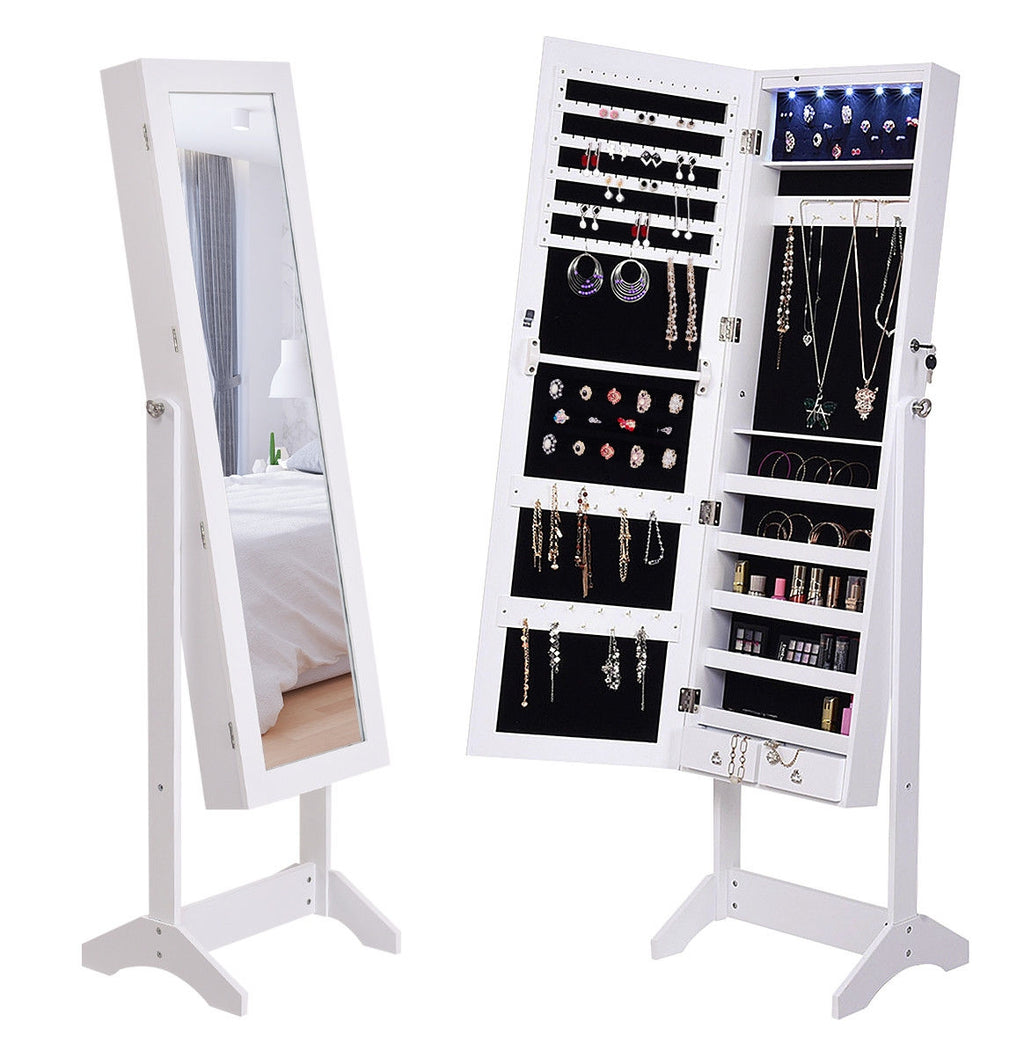 Mirrored Jewelry Armoire Lockable Storage Cabinet with Lights