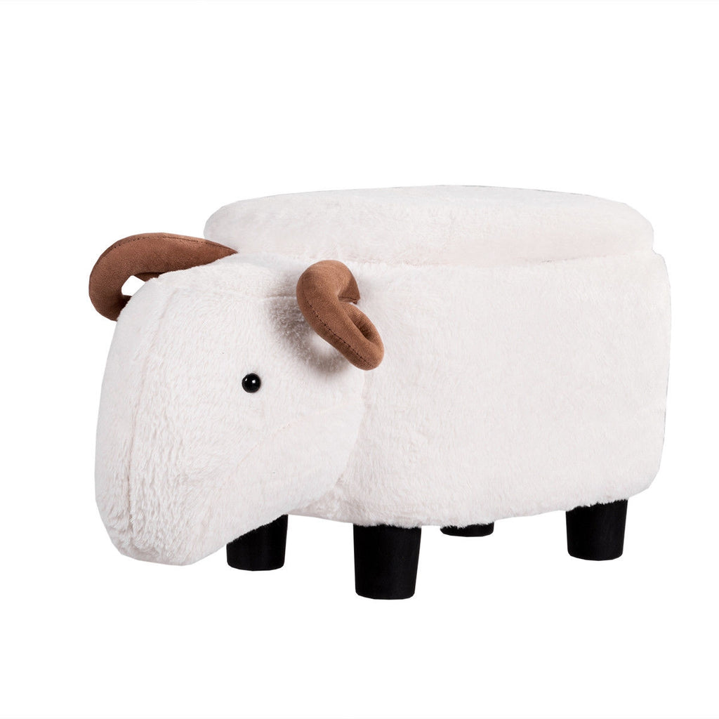 White Sheep Upholstered Ride-on Storage Ottoman Footrest Stool