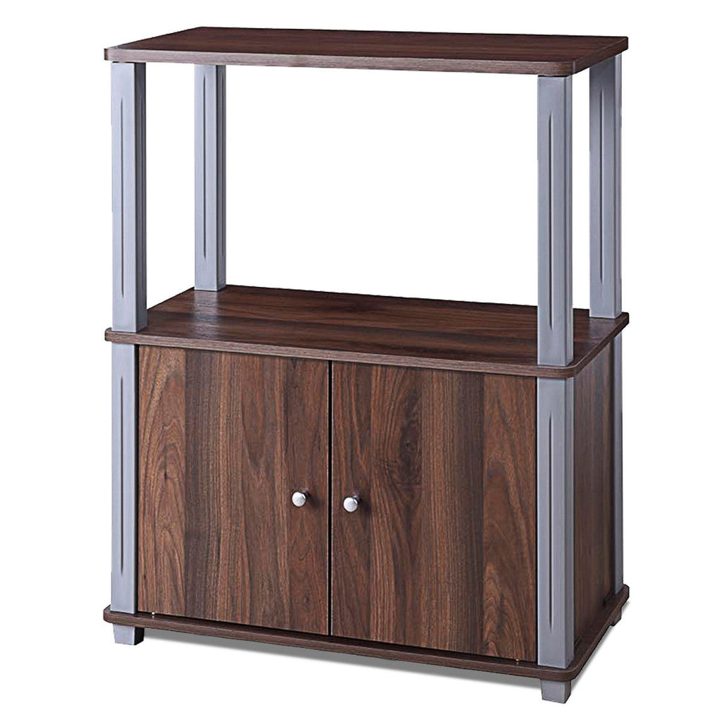 TV Stand Component Console Multipurpose Shelf with Storage Cabinet-Walnut