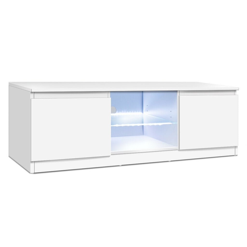 "50"" TV Stand Cabinet with LED Shelves Modern-White"