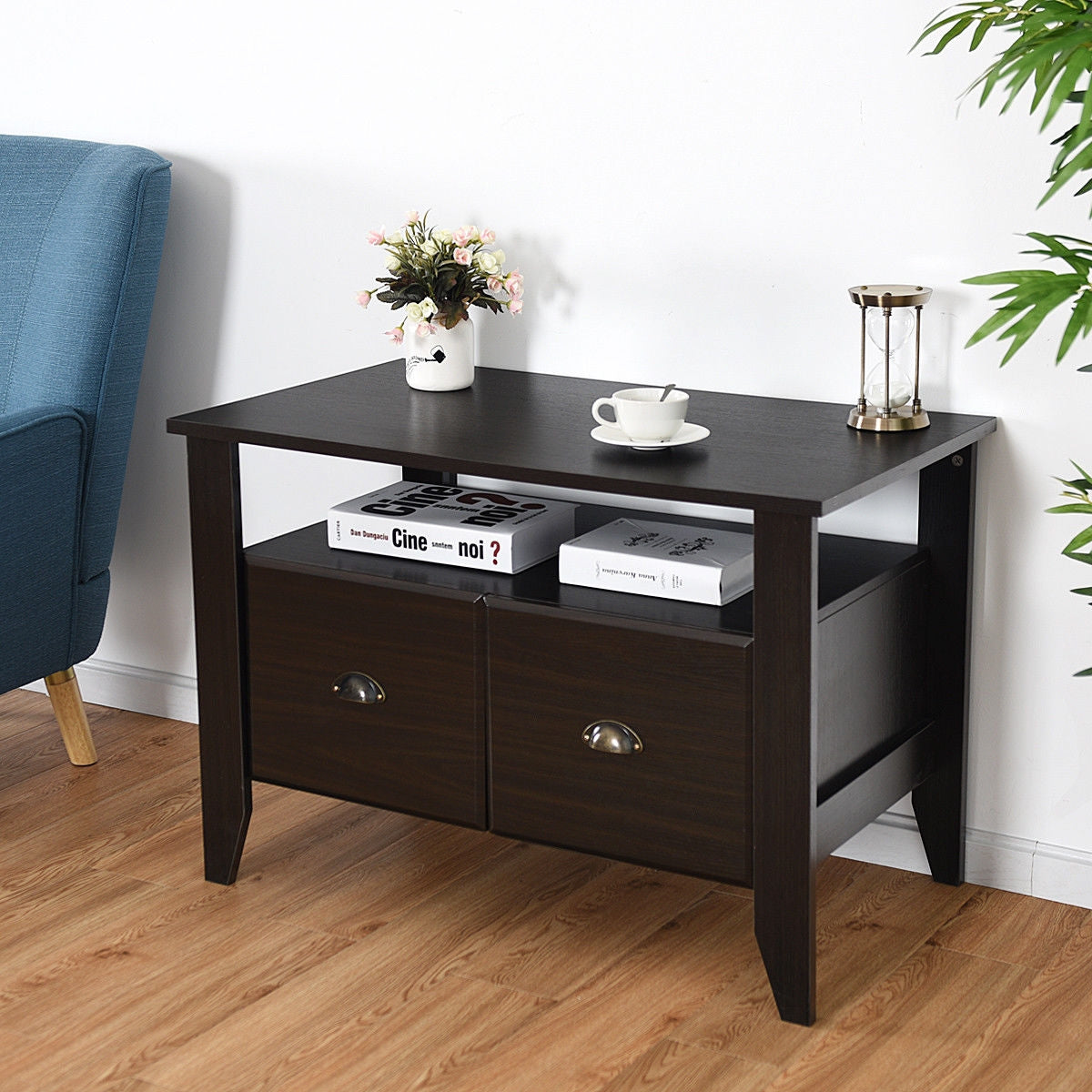 Multi-function Retro Coffee Cabinet Table with 2 Drawers