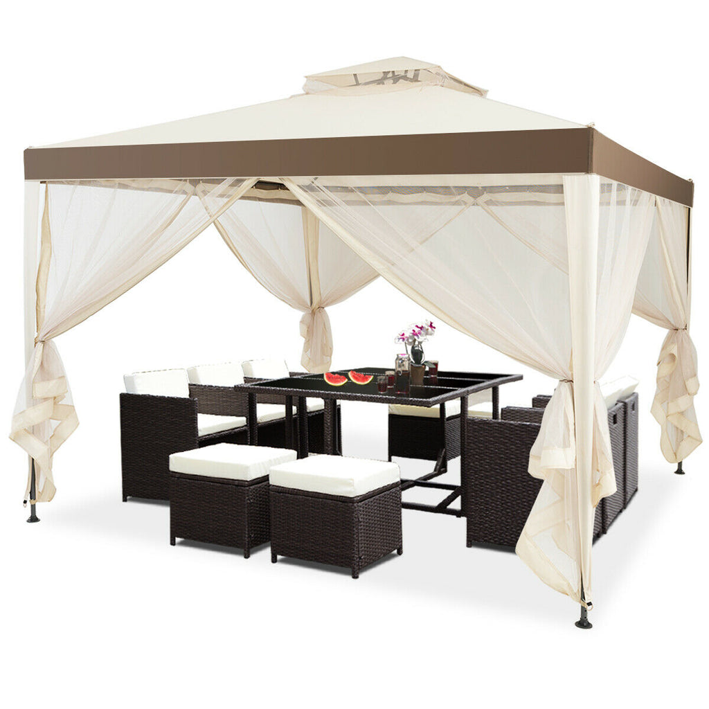 Canopy Gazebo Tent Shelter Garden Lawn Patio with Mosquito Netting-Beige