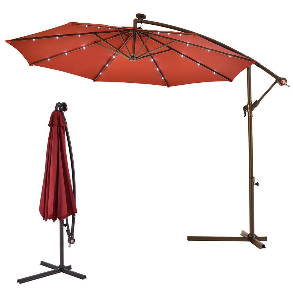 "10""  Patio Hanging Solar LED Umbrella Sun Shade-Burgundy"