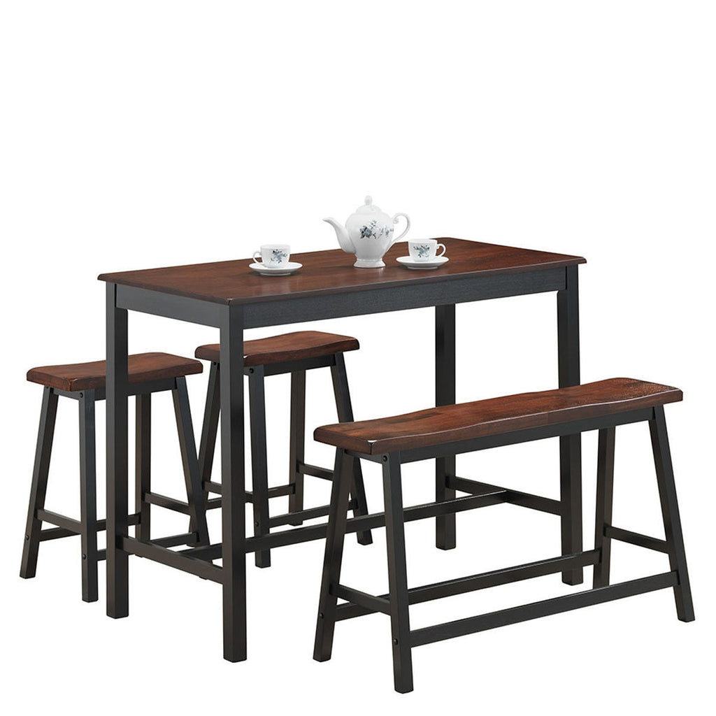 4 pcs Solid Wood Counter Height Dining Table Set-Coffee