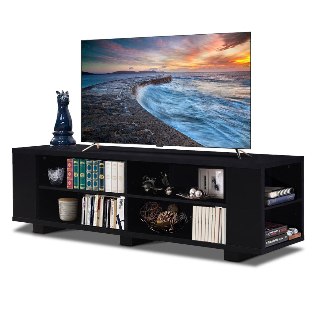 "59"" Console Storage Entertainment Media Wood TV Stand-Black"