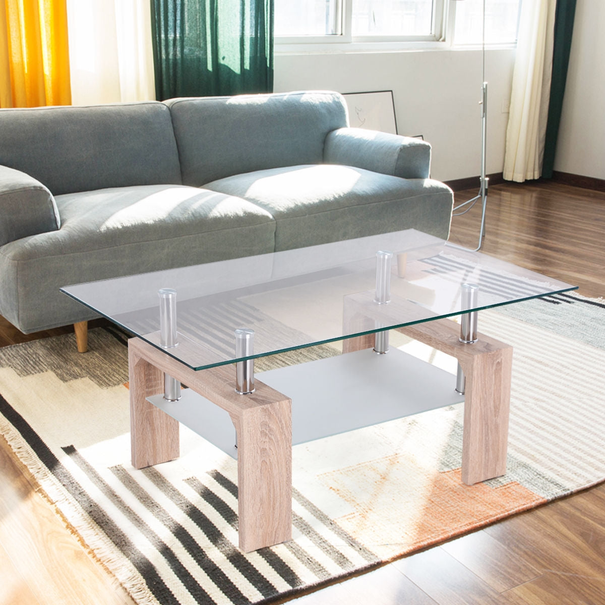 Living Room Rectangular Glass Wood Coffee Table with Shelf