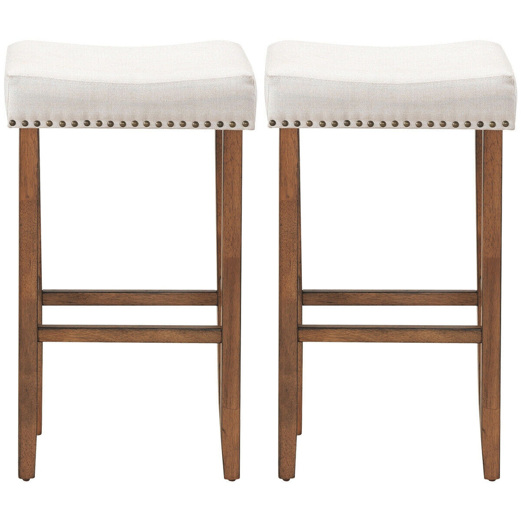 "2 pcs  29.5"" Saddle Bar Stools with Fabric Seat and Wood Legs-Beige"