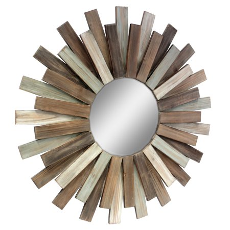 "Stonebriar Large Round 32"" Wooden Sunburst Hanging Wall Mirror with Attached Hanging Bracket"