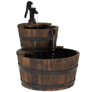 2-Tier Wood Barrel Water Fountain W/ Pump