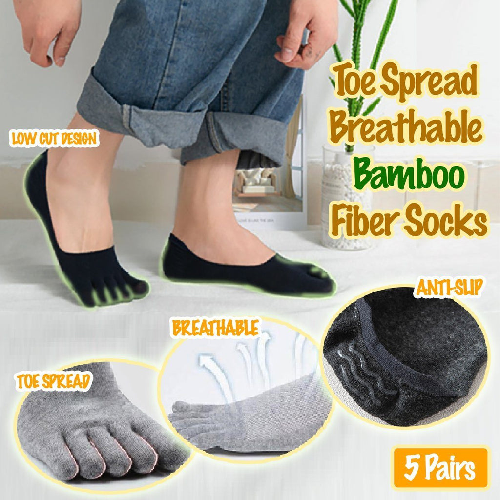 Toe Spread Breathable Bamboo Fiber Socks (5 Pairs)