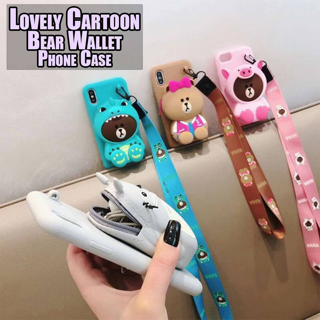 Lovely Cartoon Bear Wallet Phone Case