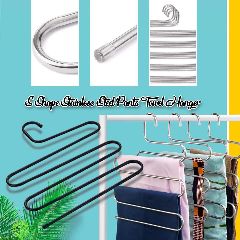 S Shape Stainless Steel Pants Towel Hanger