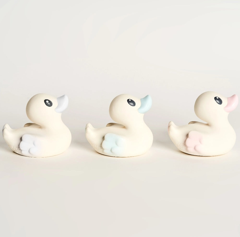 EveEco Baby Natural rubber bath duck 3 pack in light blue, pink and grey. Naturally safe, fun, plastic-free, non toxic bath toy and teether. Perfect gift for children, toddlers, babies or as a baby shower gift. Australian owned and designed.