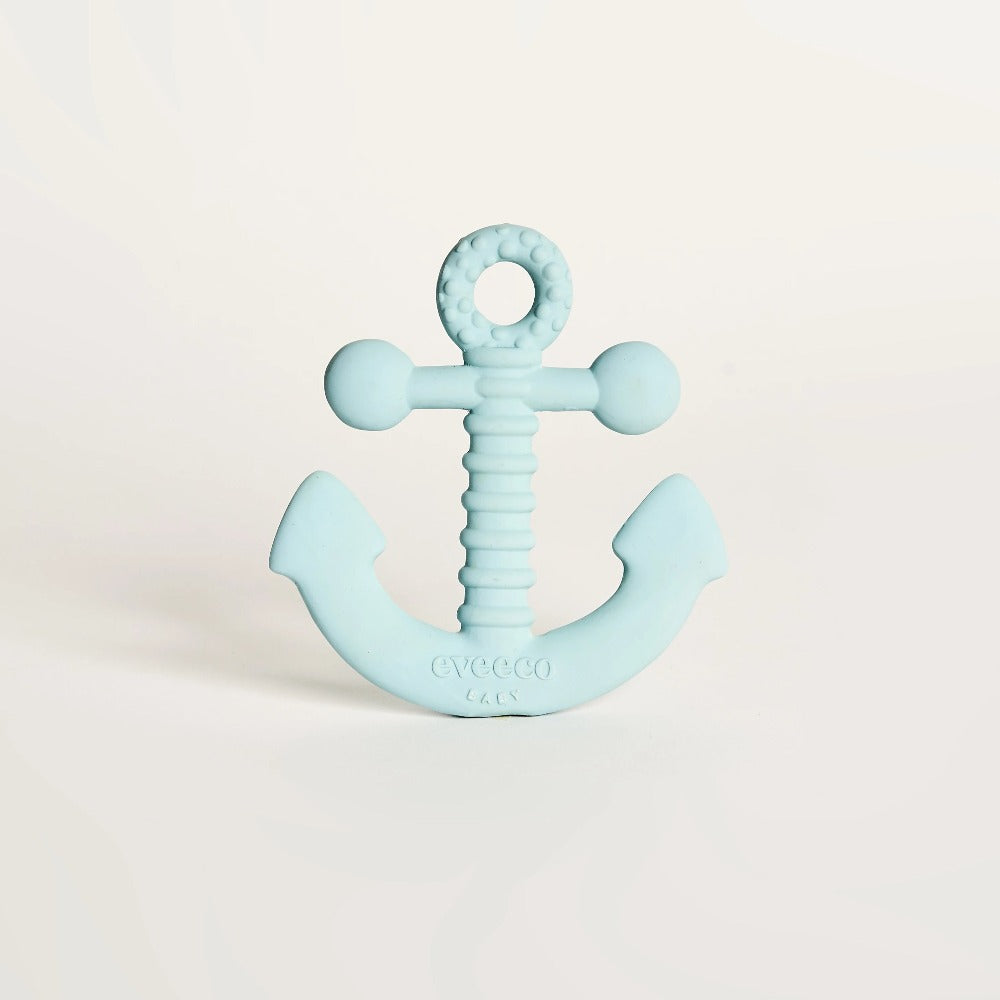 Baby blue natural rubber EveEco baby anchor teether perfect for soothing sore gums. Naturally safe, eco friendly, biodegradable, non toxic, plastic free teether which is Australian designed and owned.