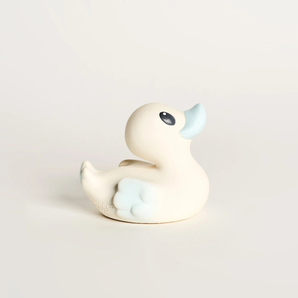 EveEco Baby Natural rubber bath duck accessory in light blue. Naturally safe, fun, plastic-free, non toxic bath toy and teether. Perfect gift for children, toddlers, babies or as a baby shower gift. Australian owned and designed.