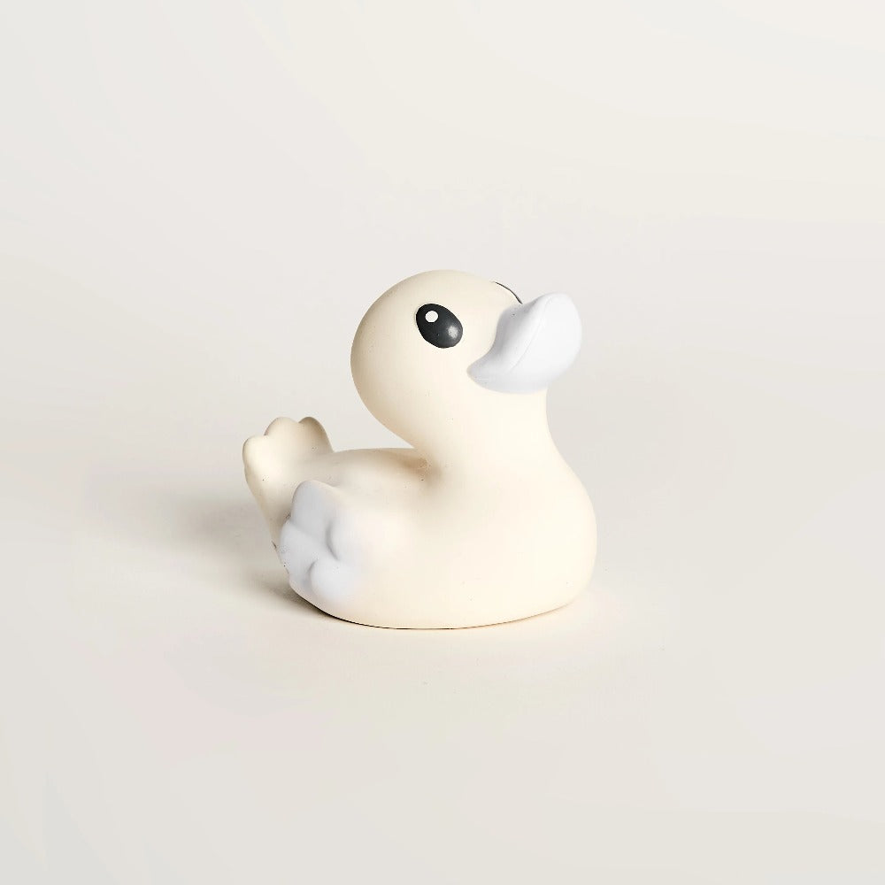 EveEco Baby Natural rubber bath duck accessory in light grey. Naturally safe, fun, plastic-free, non toxic bath toy and teether. Perfect gift for children, toddlers, babies or as a baby shower gift. Australian owned and designed.