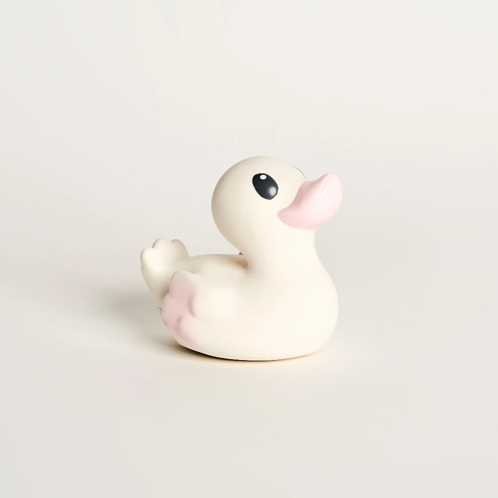 EveEco Baby Natural rubber bath duck accessory in light pink. Naturally safe, fun, plastic-free, non toxic bath toy and teether. Perfect gift for children, toddlers, babies or as a baby shower gift. Australian owned and designed.