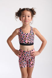 Pink Leopard Biker Shorts - Kids and Minis