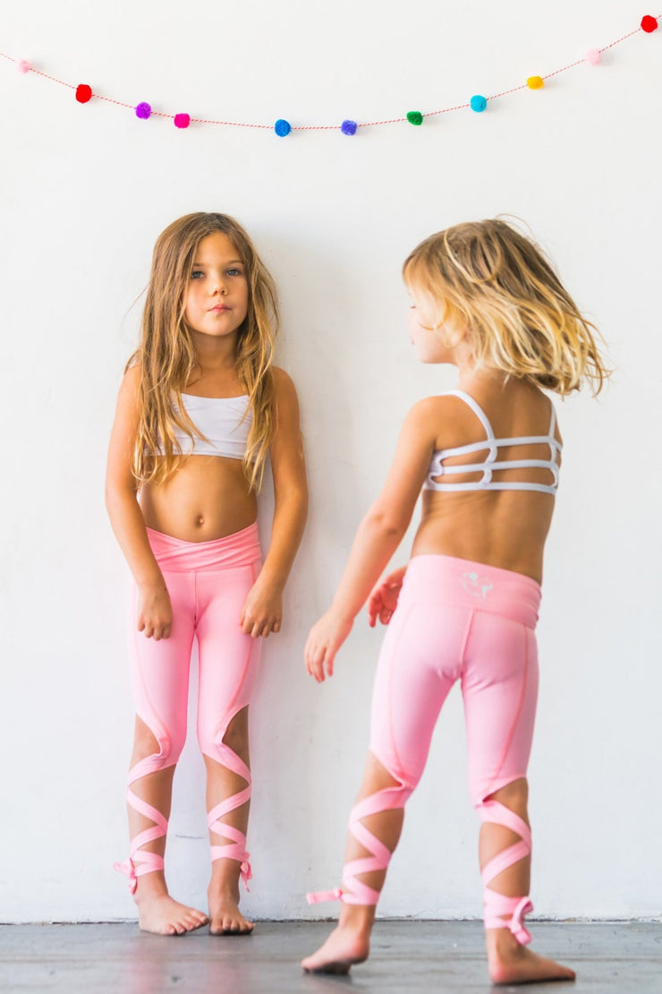Coral Pink Flexi Dancer Leggings Kids and Minis - Flexi Lexi Australia