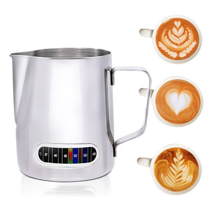 Milk Frothing Pitcher With Built-In Thermometer, Stainless Steel (600 ml)
