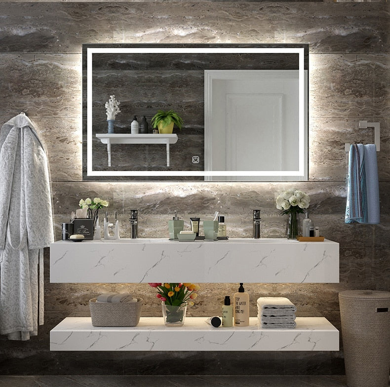 Touch Activated Lighted Bathroom Mirror