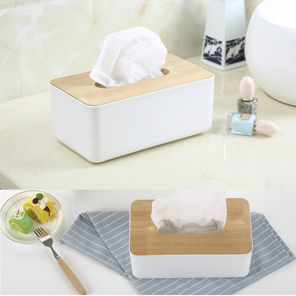 Tissue Box Dispenser With Oak Wooden Cover