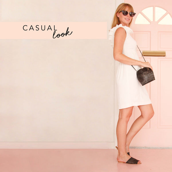 The Camilyn Beth Go Go Dress in Ivory styled casual.