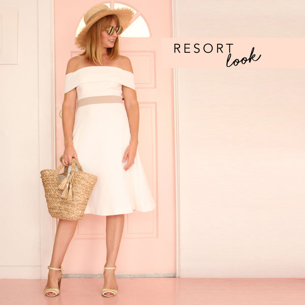 The Camilyn Beth Collins Dress in Ivory styled for a resort look