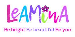 leamina-logo-in-pinks-and-blues-with-flower-design