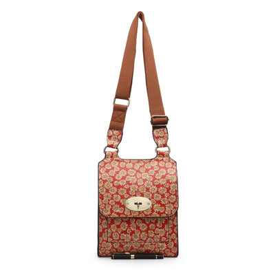 Summer Daisy Design Red and White Cross Body Bag
